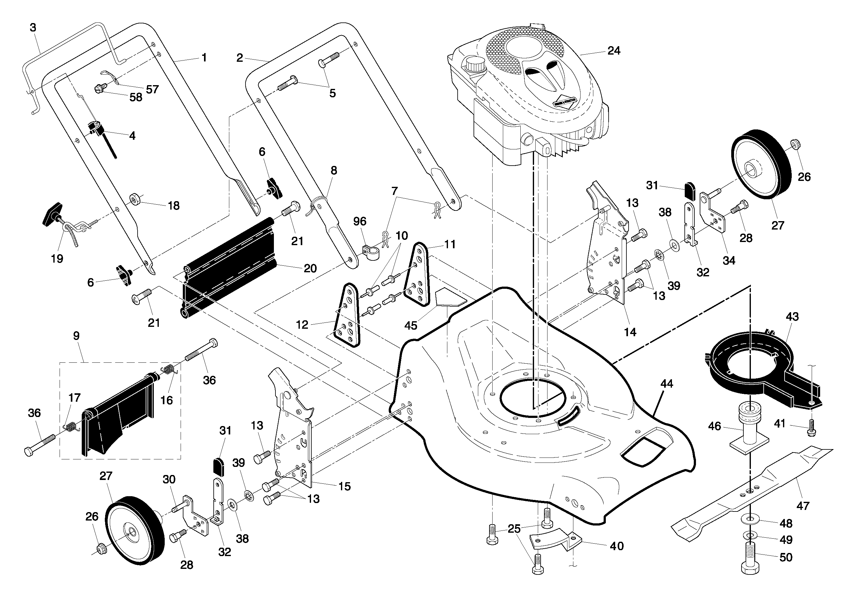 Assembly Blade Bolt Pictures 150406 Wheel Belt Diagram And Parts List For Craftsman Walkbehindlawnmower Part Diagrams Lawn Mowers Service 2744x1911