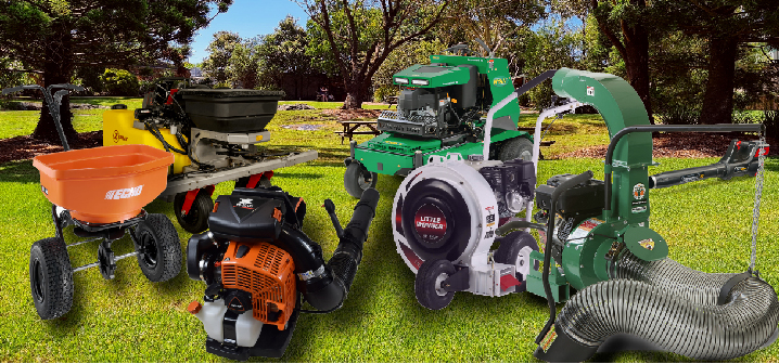 Fall Equipment including blowers, spreaders, sprayers, a debris loader, and an aerator