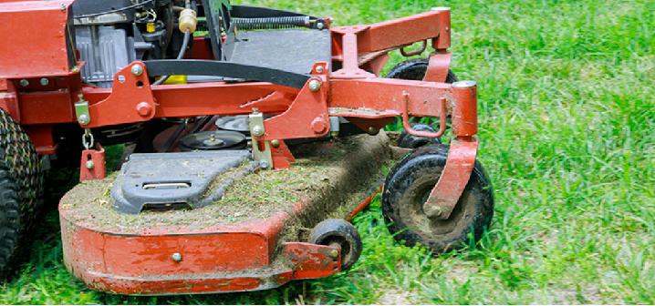 Mower mowing grass