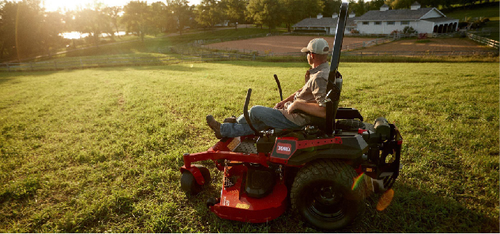 a mower with mulching blades