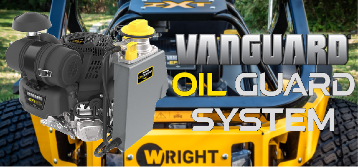 Vanguard engine with the oil guard system as awell as a mower that uses the system