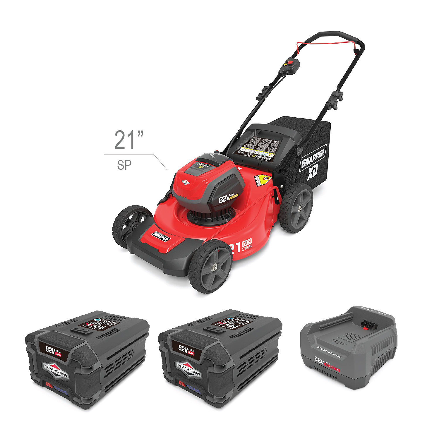 "Kit Walk (SP) Mower 21"" 82V Charger and two Batteries"