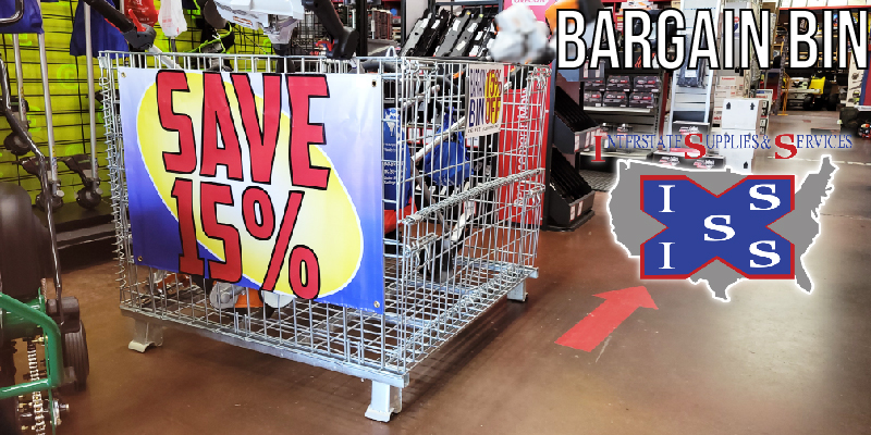 An image of the bargain bin that sits at the front of our store.