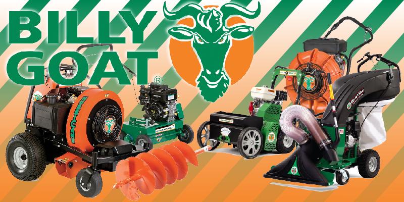 Billy Goat Equipment including a Walk-Behind Blower, OverSeeder, Landscape Auger, Leaf/Debris Vacuum, Ride On Blower and Dethatcher