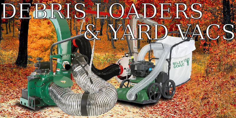 An image of debris loaders and a yard vac with a background full of fall leaves