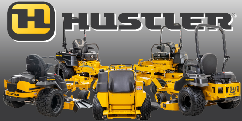 5 different Hustler Mowers including both commercial and residential models.