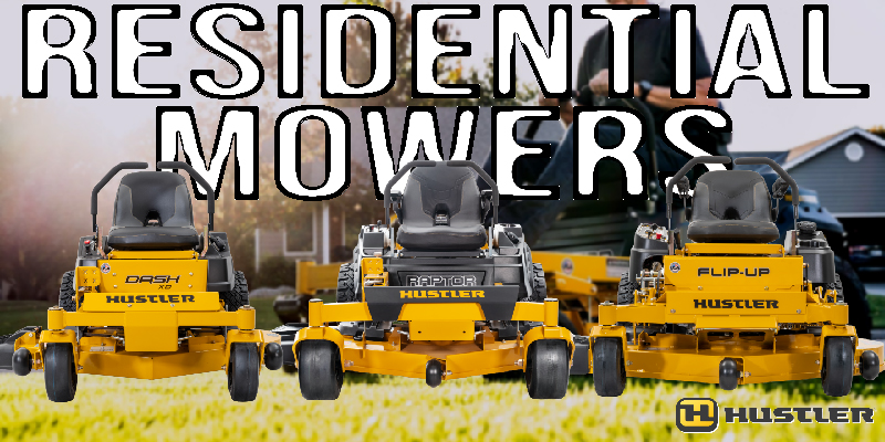 Three Residential Hustler Mowers including the Dash XD, Raptor XD, and Flip-Up