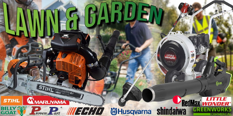 A photo of multiple pieces of outdoor power equipment as well as brand logos. Visible products include a chainsaw, backpack blower, string trimmer, push blowe, and handheld blower.