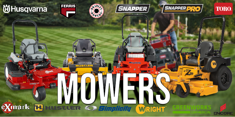 A photo that displays two commercial mowers and two residential mowers as well as the brands we sell
