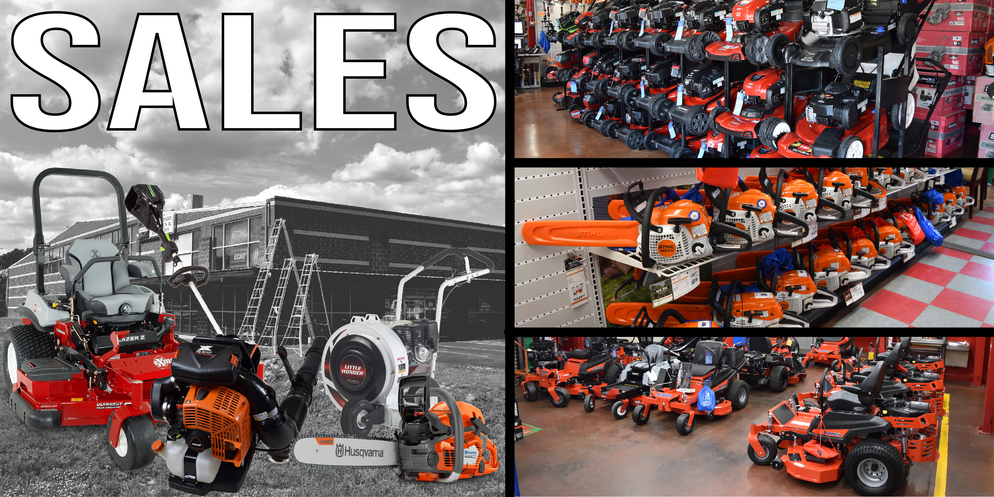 An image of the outside of our store as well as a few of the inside to showcase what we sell. Pictures include: chainsaws, push mowers, zero-turns, blowers and a trimmer