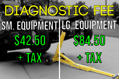 Diagnostic Fee Rates. $42.50 for small equipment; $84.40 for large equipment