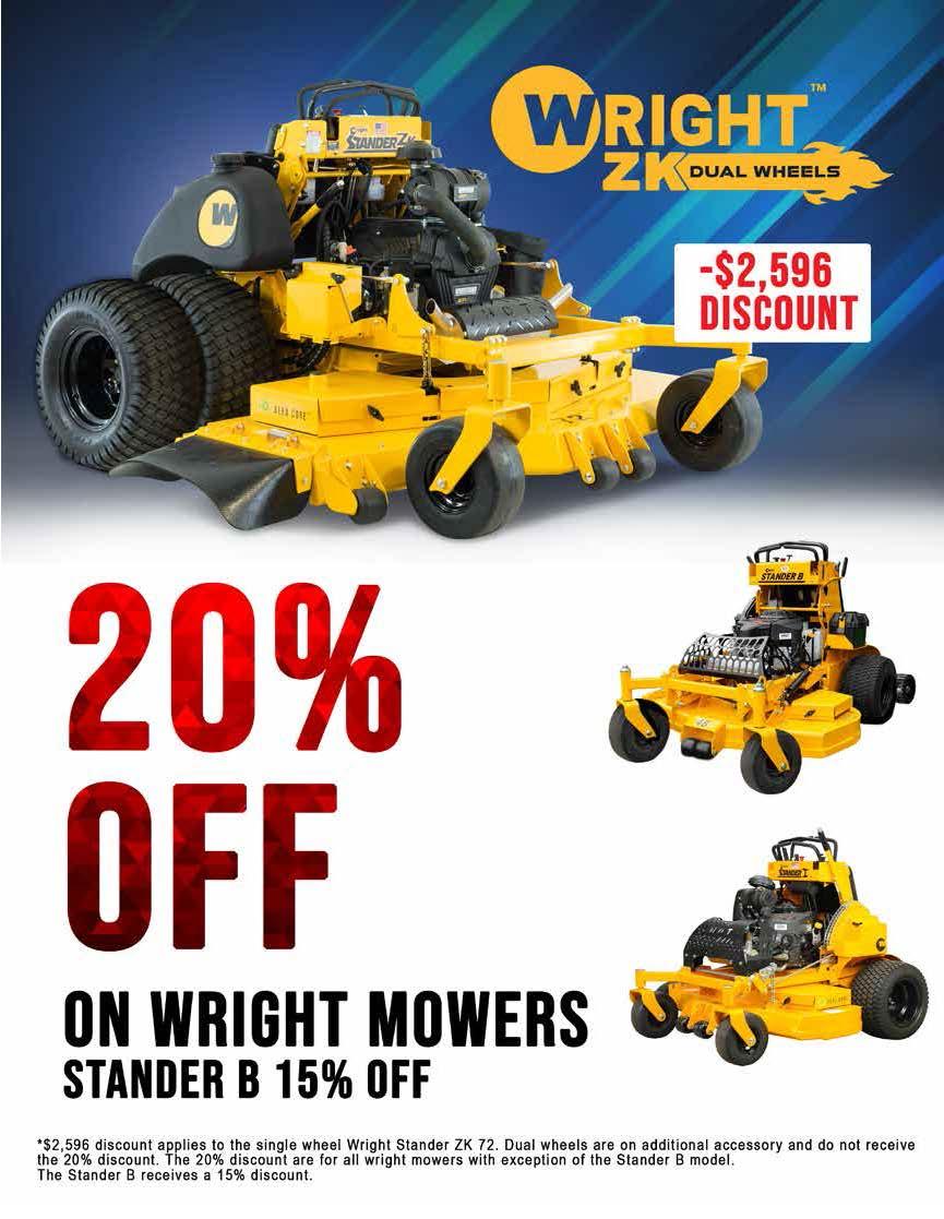 Wright mowers 20% off